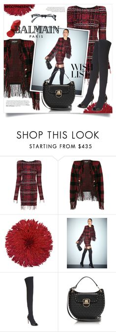 """#PolyPresents: Wish List"" by devaanggraenii ❤ liked on Polyvore featuring Balmain, JuJu, contestentry and polyPresents"