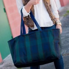 ... Navy and Green Plaid Big Tote - BeauJax Boutique This oversized utility  bag is super preppy  Personalized Piper ... eacdeb8a5a