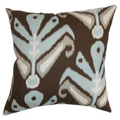 Bring a pop of color to your sofa or favorite arm chair with this chic cotton pillow, showcasing an ikat-inspired motif.   Product: ...