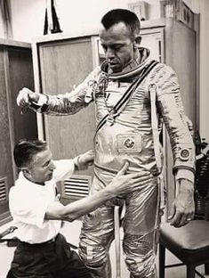 Alan Shepard is prepared for flight on the Mercury-Redstone 3 mission in May Shepard was the first American in space Photograph: Courtesy of WestLicht Astronauts In Space, Nasa Astronauts, Space Projects, History Projects, Project Mercury, Nasa Space Program, Nasa Missions, Nasa History, Vintage Space