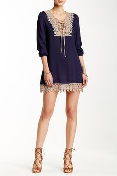 Lace Yoke Trim Lattice Tunic