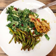 Beyond Chicken Stir Fry, Kale Salad, Green Beans #yum