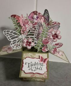 Card in a box made by Noreen Meekins for a friend, using stampinup baic butterfly stamp set, wording is stampinup sassy salutations stamp set