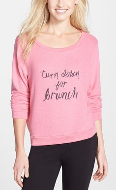 The statement on this pink crewneck is sure to be relevant every weekend.
