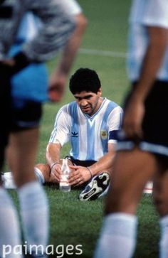 Argentina's Diego Maradona waits for the start of extra time - FIFA World Cup…