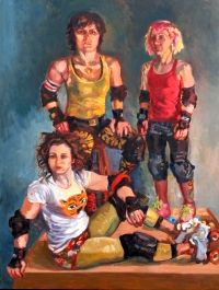 """MAINE ART SCENE MAGAZINE - Jonathan Frost in Solo Show. """"Roses, Romance and Roller Derby""""  (Rockland, ME) The Jonathan Frost Gallery, 21 Winter St. in Rockland, will present a solo exhibition by gallery owner Jonathan Frost, his first in prime season since opening the gallery in 2006. The show, """"Roses, Romance, and Roller Derby"""", will open on Friday, July 5 and the public is cordially invited to a gala artist's reception from 5 to 8, featuring live jazz with Steve Lindsay and friends."""