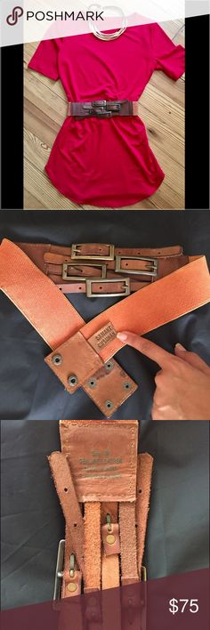 """Anthropologie Leather Belt by Samantha Chauhan Unique 4buckle Leather Belt by Samantha Chauhan. Total measurements of belt is 30"""". Size Medium. Great condition always kept in the dust bag. Anthropologie Accessories Belts"""
