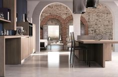 New materials, last generation finishes and some solutions for Creta kitchen have just been presented by the Del Tongo Research&Development department. Creta, Architecture Details, Modern Architecture, Rustic Stone, Loft House, Mediterranean Homes, Stone Houses, Classic House, Rustic Interiors