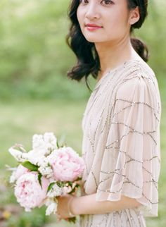 Gorgeous pale, sparkley bridesmaid dress and bouquet via life in bloom chicago blog