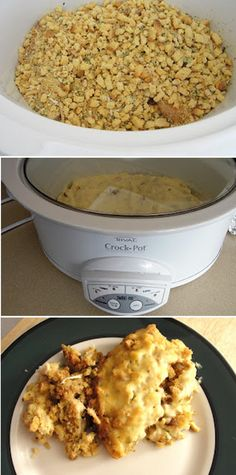 East Crock Pot Chicken & Stuffing... Made this last week... It was amazing! I also added baby carrots and celery chunks! It was like chicken pot pie heaven! TRY THIS! It's goooood! :D