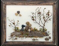 Pebble Art Rock Art Pebble Art Family Family of Three with Stone Crafts, Rock Crafts, Rock Family, Family Family, Pebble Art Family, Adoption Gifts, Baby Wall Art, Frame Crafts, Stone Art