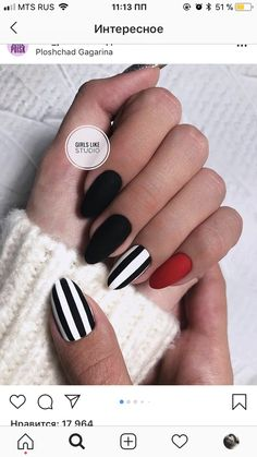 Most Beautiful Black Winter Nails Ideas Cute black and white nails with an accent red nail! Cute black and white nails with an accent red nail! Winter Nails, Summer Nails, Cute Nails, Pretty Nails, Black Nail Art, Black White Nails, Black Stripes, Nails With Stripes, Cute Black Nails