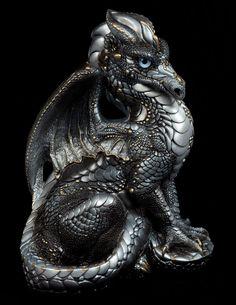 Male Dragon - Silver.  Airbrushed and Handpainted Fantasy Figurine, Statue. $132.00 #dragon #fantasyart #figurine