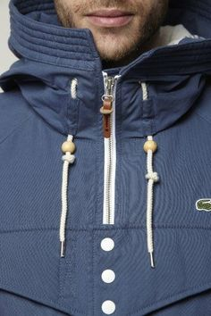 Parka details:: cord held down with shell panels