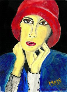 Maja with red hat Art Print Red Hats, Saatchi Art, Disney Characters, Fictional Characters, Original Paintings, Disney Princess, Artist, Abstract Pictures, Artists