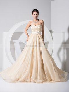 Partheenia - a-linje sweep släp satäng brudklänning med färgband