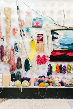 Wools and materials in Natalie Miller's Studio. Learn weaving from her at Koskela. Photo: The Design Files.