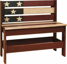 Amish American Flag Bench  Proudly display your patriotism with our Amish Patriotic USA Flag Bench. This item is perfect for the porch or entrance hallway. At DutchCrafters we are offer a wide variety of patriotic furniture. All of our Amish furniture is patriotic furniture due to the fact that it is handcrafted in the USA!