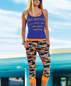 Look at this #zulilyfind! Royal 'Be Strong' Tank & Orange Camo Joggers…