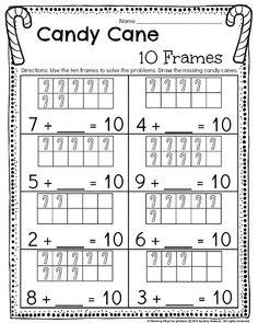 Making 10 worksheet for Kindergarten - Candy cane theme. Christmas Worksheets Kindergarten, Kindergarten Journals, Kindergarten Math Activities, Kindergarten Worksheets, Maths, Phonics Activities, Math Journals, Preschool Ideas, Homeschool Worksheets