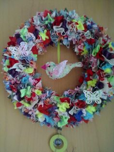Türkranz aus Stoffresten / Wreath made from scraps of fabric / Upcycling