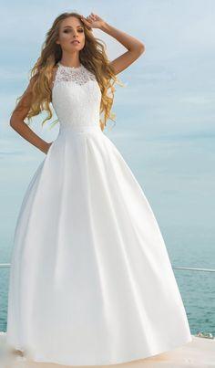 accc9422b7443 satin skirt pocket embroidered lace wedding dress elegant classic boho  ivory white closed front Rust