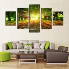 Promising Sunrise In The Green Forest - 5 Piece Canvas  #prints #printable #painting #canvas #empireprints #teepeat