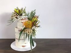 A sample of our work — Sugablossom Cake Co - Australian Native Semi Naked Cake Wafer Paper Flowers, Sugar Flowers, Fondant Flowers, Naked Cake Image, White Fondant Cake, Birch Tree Cakes, Sequin Cake, Fresh Flower Cake, Cake With Flowers