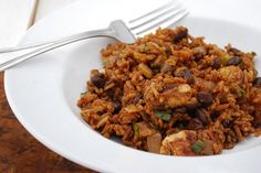 Red Chile Chicken with Rice and Black Beans