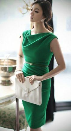 Emerald Green Cowl Neck Shift Dress. Work or Cocktail.