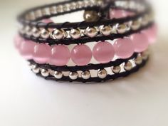 Beaded Leather Wrap Cuff 3 Row Pink Silver by starsparklejewelry, $30.07