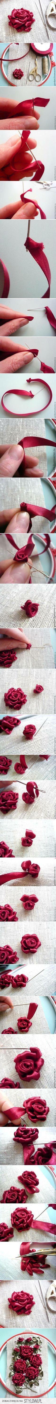 DIY Handbag Embellishment - How to Make Ribbon Roses | Diy handbag ...