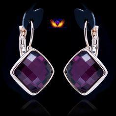 8 цвета, Высокое Качество, Роуз Позолоченные Ювелирные Изделия Серьги для женщин фиолетовый 14*14 мм квадрат серьги, цена Завода купить на AliExpress