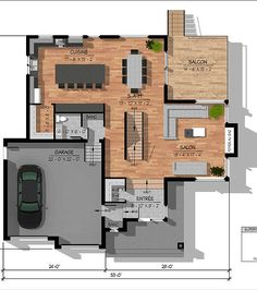 Le Genevrier contemporary cottage plan - Home Decor -DIY - IKEA- Before After Two Story House Plans, Modern House Plans, Small House Plans, House Floor Design, Modern House Design, Plan Chalet, Contemporary Cottage, Cottage Plan, House Drawing
