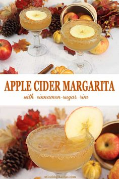 Apple Cider Margarita - - An easy cocktail to whip up for the season. A little apple cider, tequila and a cinnamon sugar rim makes this a fun fall take on the classic golden margarita. Fall Cocktails, Holiday Drinks, Summer Drinks, Popular Cocktails, Vodka Cocktails, Alcoholic Drinks, Christmas Drinks, Fall Recipes, Holiday Recipes