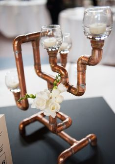 Copper candelabra wedding centerpieces