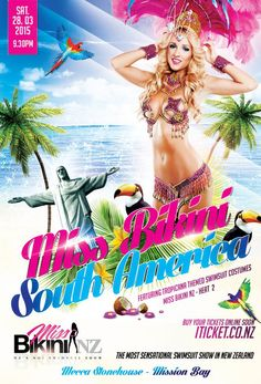 Miss Bikini South America- Heat 2 Bikinis Nz, South America, New Zealand, Swimsuits, Costumes, Movie Posters, Movies, One Piece Swimsuits, Dress Up Clothes
