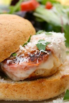 Chicken Parm Garlic Bread Burgers -- i would use texas toast to make these beauties... yum!