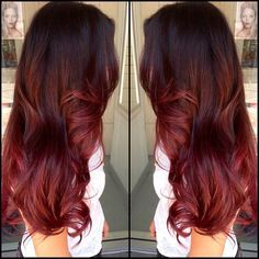 Hot Red hair highlights For Women Pelo Color Borgoña, Corte Y Color, Top Hairstyles, Pretty Hairstyles, Love Hair, Gorgeous Hair, Hair Colorful, Red Ombre Hair, Ombre Burgundy