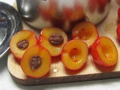 Artisan dollhouse dolls house food Making plum by Dollshousefood