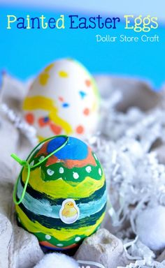 Make an Easy Painted Eggs Easter Craft with Dollar Store Supplies!