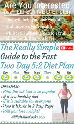 https://youtu.be/Hvr2tC6r2Ic Watch my video to discover all you need to know about the 5:2 Diet including the easy 3 Step Plan to the Diet, how to plan your diet days, how many calories to eat on fasting days, who should NOT follow this diet and what are it's health benefits. Find my 5:2 Diet Plan Low Calorie Meals Recipe Cookbook at: Amazon.com http://amzn.to/1RurWJn Amazon.co.uk http://amzn.to/1nbrin2 iBooks https://itunes.apple.com/us/book/id1032434046?mt=11