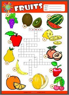 Fruits ESL Printable Worksheets For Kids – Cool Math Games – Cool Math – Hooda Math Games English Grammar For Kids, English Worksheets For Kids, English Lessons For Kids, English Activities, Teaching English, Activities For Kids, Kids Worksheets, Fruit Names, Nutrition Activities