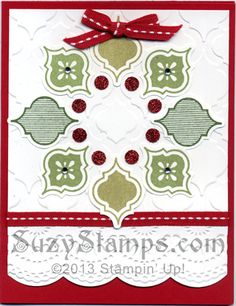 Stampin' Up! Cards - 2013-08 Mosaic Madness Stamp Camp, Christmas.  (I have the stamps, the embossing folder and the punch for this project)