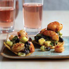 Tequila-Flamed Shrimp Tostadas // More Healthy Mexican Recipes: http://www.foodandwine.com/slideshows/healthy-mexican #foodandwine