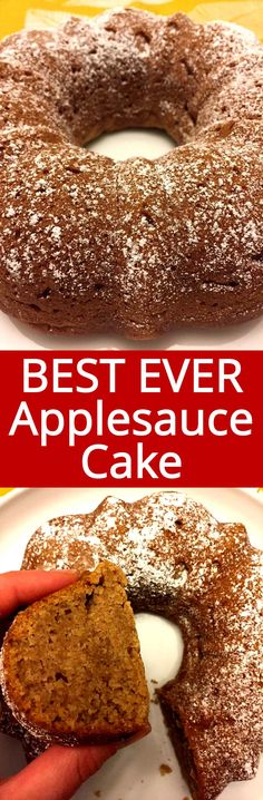 This applesauce bundt cake recipe is the best ever! So easy to make - just mix everything in one bowl, pour into a bundt and bake! Your house will smell amazing! This is the only applesauce cake recipe you'll ever need! Delicious Cake Recipes, Yummy Cakes, Dessert Recipes, Breakfast Recipes, Applesauce Bundt Cake Recipe, Applesauce Recipes, Food Cakes, Cupcake Cakes, Cupcakes