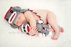White, Red & Dark Gray Sock Monkey Earflap Hat with Matching Doll - Newborn Baby Boy or Girl Photography Photo Prop. $35.00, via Etsy.