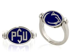 You'll flip for our new PSU reversible ring. Rotate the top of the ring. NIttany Lion Logo on one side, Blue Band pregame PSU formation on the flip side. Sterling silver with blue enamel. Actual size measures 3/4 inch in width and 3/8 inch in length. Two ways to show your Penn State Pride in a very unique way. Designed by Betsy Suhey.