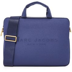 "Marc Jacobs 13"""" Neoprene Commuter Case (£94) ❤ liked on Polyvore featuring accessories, tech accessories, midnight blue, neoprene laptop case, marc jacobs, marc jacobs laptop case and laptop sleeve cases"
