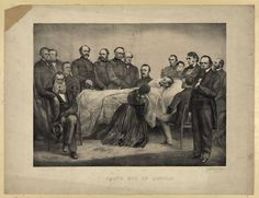 Death Bed of Lincoln by A. Brett & Company, 1865. People in the room: 16